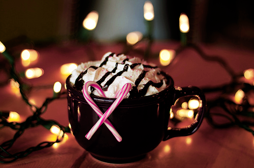 candy cane, chocolate, christmas and drink