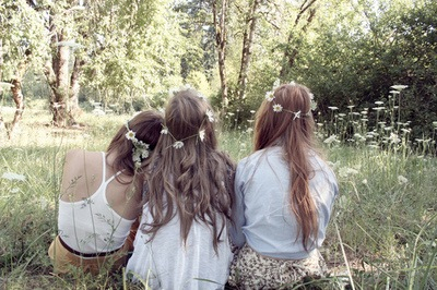 flowers, forest, friends, hair, indie, nature, relax
