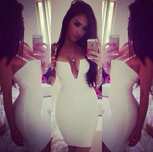 cleavage, cute, dress, white