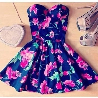 clothes, cute, dress, fashion, heels, outfit, strapless, summer