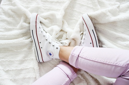 adorable, all star, beautiful, chic, clothes, clothing, converse, cool, cute, fashion, fashionable, girl, girly, gorgeous, light, lovely, pastel, pretty, style, trend, trendy, wonderful, white sneakers, pastel purple, lilac pants
