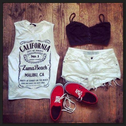 black, california, casual, crop, fashion, girl, girly, idea, look, nice, outfit, pretty, red, shorts, style, summer, t shirt, tank, top, vans, white