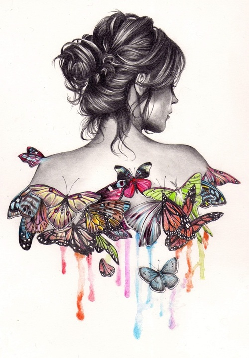 black, black and white, butterfly, draw, girl, white