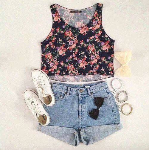 bow, flowers, outfit, short, style, summer, top crop, white converse