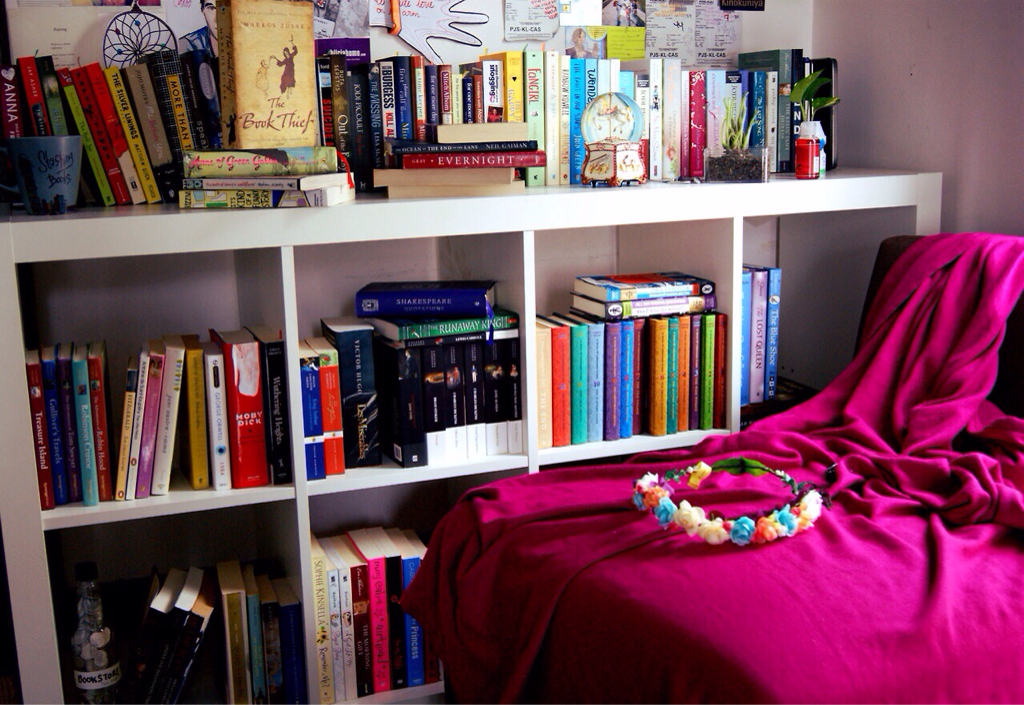 book, books, bookshelf and fangirl