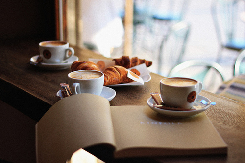 book, breakfast, coffee, croissant, cups, read, reading