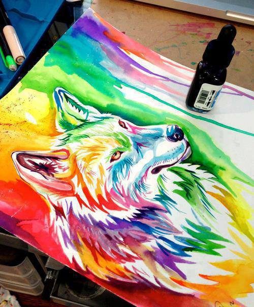 Untitled - image #1952921 by taraa on Favim.com Colorful Wolf Painting