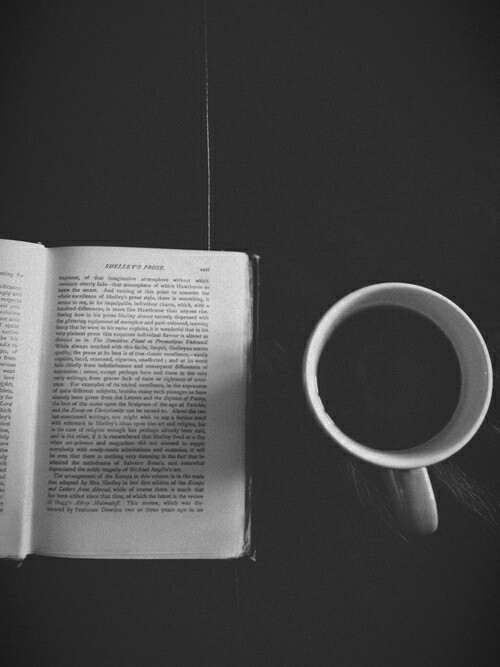 black and white, book, coffee, lovely, silence, tumblr