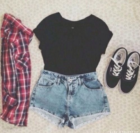 fashion, girly, outfit, shorts, skater girl, summer, summer outfit ...