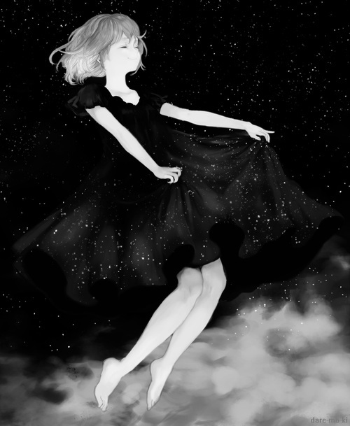 amazing, anime, beautiful, beauty, black and white, clouds, cute, dress, float, floating, fly, flying, galaxy, girl, kawaii, manga, monochrome, short hair, sky, stars, star dress