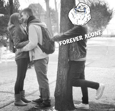 black and white, boy, couple, forever alone, friends, funny, funny pic, funny pictures, girl, kiss, lol, memes, photography, text