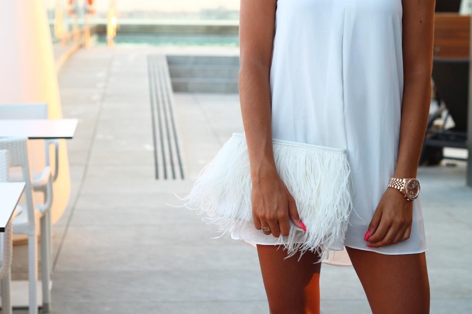 clutch, dress, feathers and girl