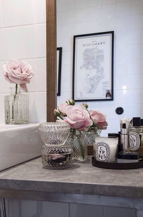 bathroom, beauty, candle and candle holder