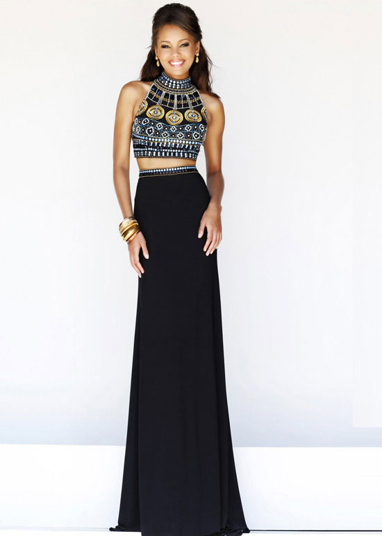 Black Multi High Neck Two Piece Beaded