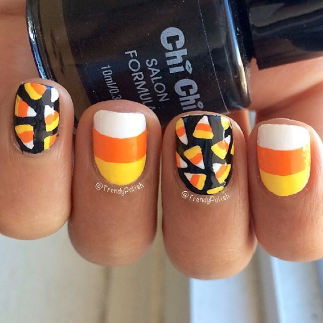 beauty, black nails, candy corn and creative
