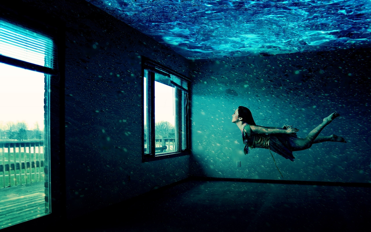 beauty, creative, dreaming, illustration, imagination, magic, under water, window