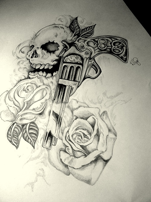 draw, pistol, roses, skull, tatoo, guns n' roses