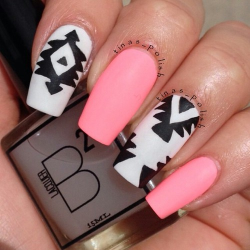 Nail designs pink black white pin by jen viklen on nails view images black nails nail art pink tribal print prinsesfo Image collections