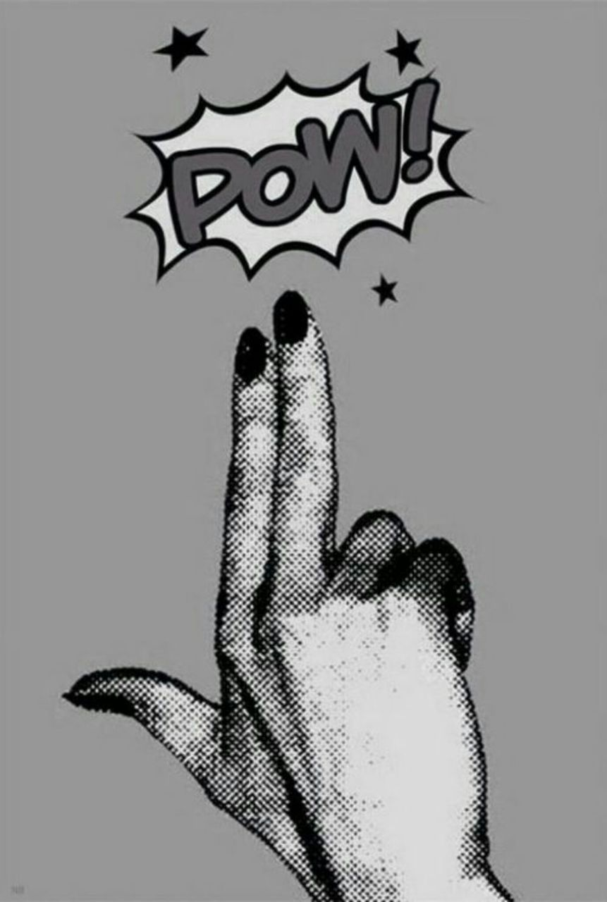 black, comic, grey, illustration, nails, pistol, pow, white