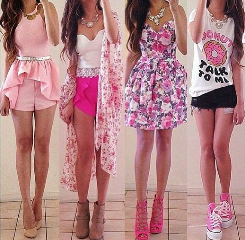 Cute donut fashion girly outfit outfits pink spring summer summertime tumblr - image ...