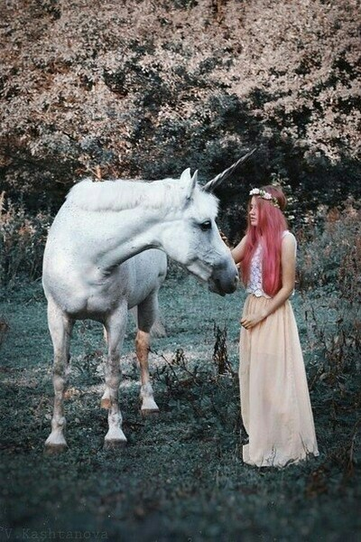 dream, fantasy, forest, girl, hair, unicorn, wonderful life, world