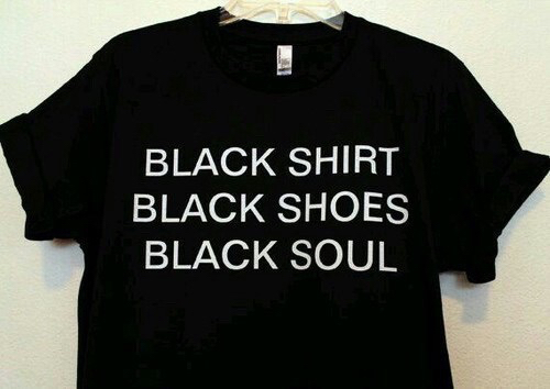 black shirt, black shoes, clothes and grunge
