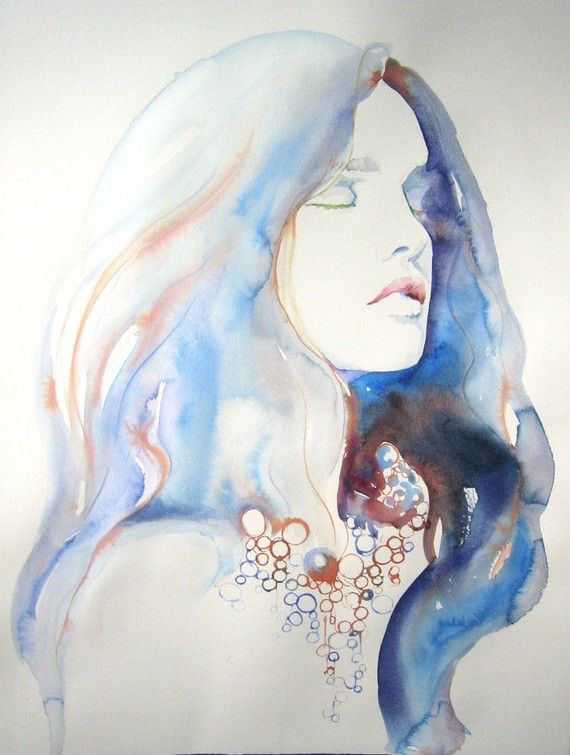 art, blue, bubbles, draw, drawing, galaxy, girl, hair, inspiration, lips, painting, watercolor, drawspiration