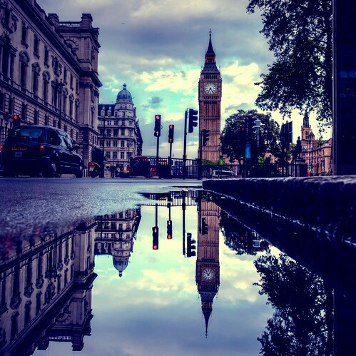 big ben, london, puddles, rain