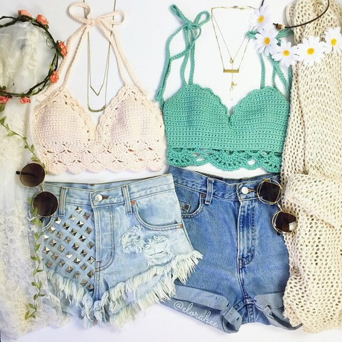 bff, cardigan, chamomile, combination, cute, dark blue, denim shorts, fashion, flower, flower wreath, girl, lace, moda, orange, outfit, ripped, round sunglasses, summer, summer vacation, white, woman, cream sweater, cool necklace, мода
