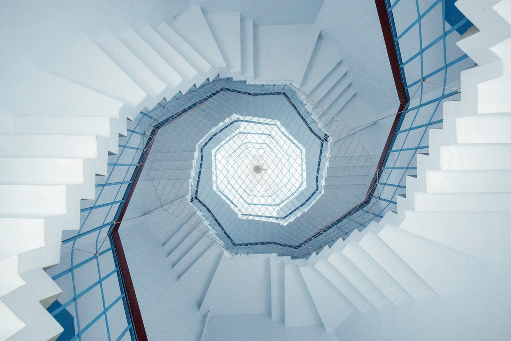 architecture, blue, geometry, minimal, minimalism, staircase, stairs, structure