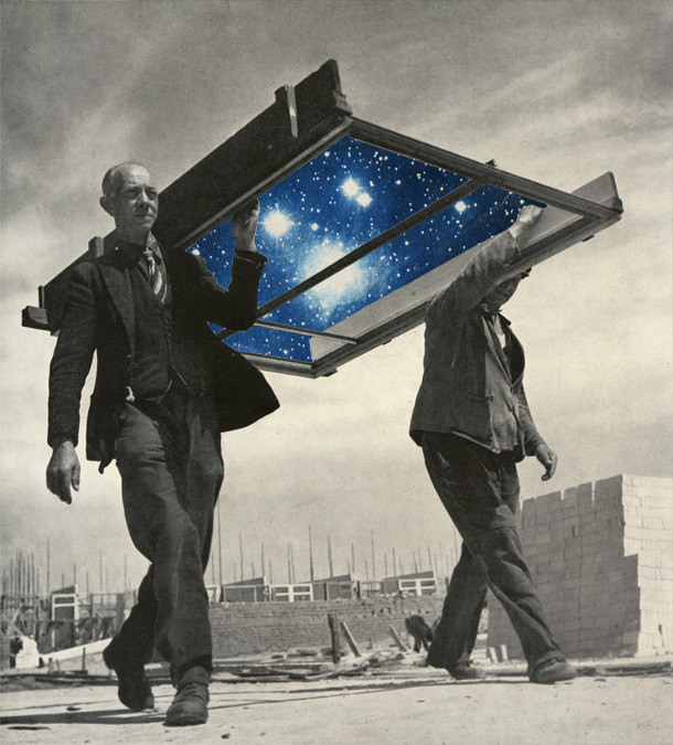 collage, space, stars, surreal, under construction, sammy slabbinck