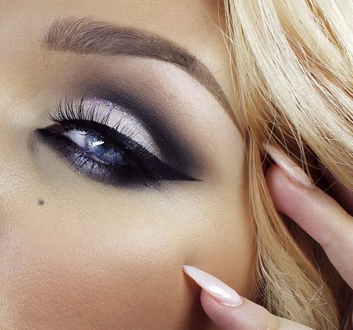 black, eyelashes, eyeliner and eyeshadow