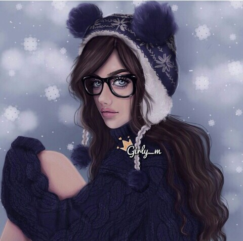 Art Girly M Cute Fashion Draw Drawing Girl Glasses