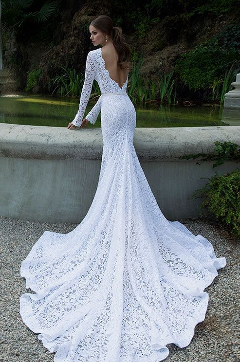 backless, lace, train and wedding dress