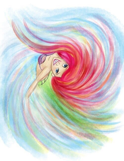 ariel, beautiful, mermaid, painting, pretty, watercolor ...