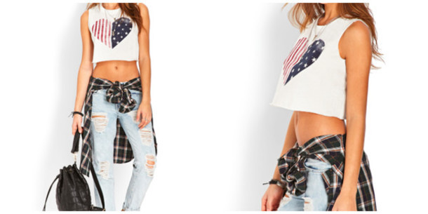4th of july, american, american flag, bag, black, blue, crop, crop top, cute, cute outfit, fashion, fashionable, flag, flannel, heart, hipster, jeans, model, outfit, plaid, red, red white and blue, ripped jeans, super cute, tan, usa, white