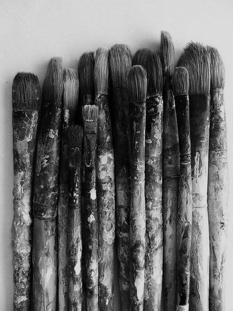aesthetic, art, black, brushes, bw, dark, girls, life, love, paint, paintbrushes, style