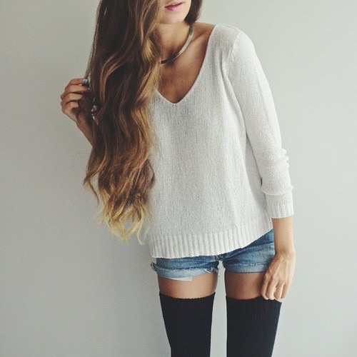 adventure, alternative, crop top, cute outfit, girl, girly, grunge, outfit, oversize sweater, pale, shorts, socks, summer, vintage