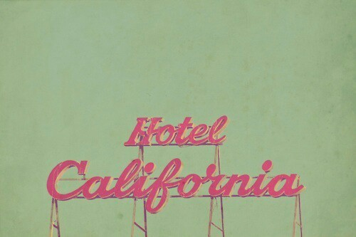1950s, hotel california, hotels, neon sign, pink, retro, vintage, kitschy