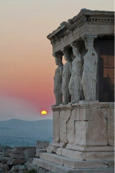 antique, architecture, art, athens, greece, greek, grunge, hipster, history, holiday, horizon, indie, inspiration, old, pale, pink, sculpture, sky, soft, soft grunge, sun, sunrise, sunset, temple, vintage, murble, je suis moi, cariatidi, caryatids