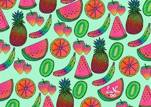 Colorful Hipster Kiwi Orange Pineapple Strawberry Watermelon And