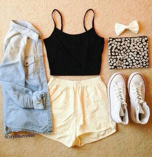 all star, bag, black, bow, clothing, converse, crop top, cute, cute outfit, denim, denim shirt, distressed, faded, fashion, high tops, leopard print, outfit, plain, shorts, sleeves, summer, tank top, white, yellow shorts, small bag, Rolled Up