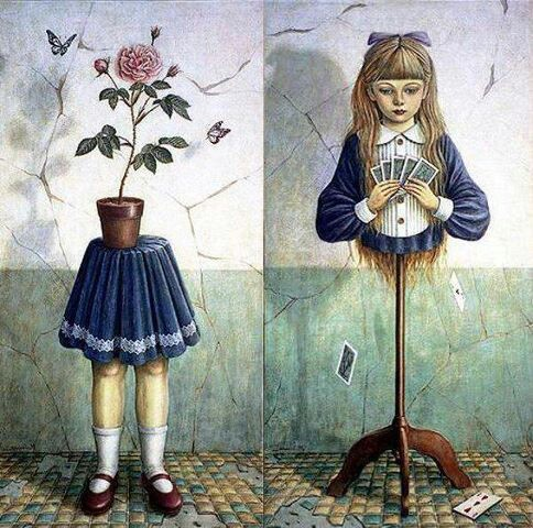 alice, art, bizarre, cards, doll, flowers, girl, maniqui, painting, rose, sad, shiori matsumoto, surreal