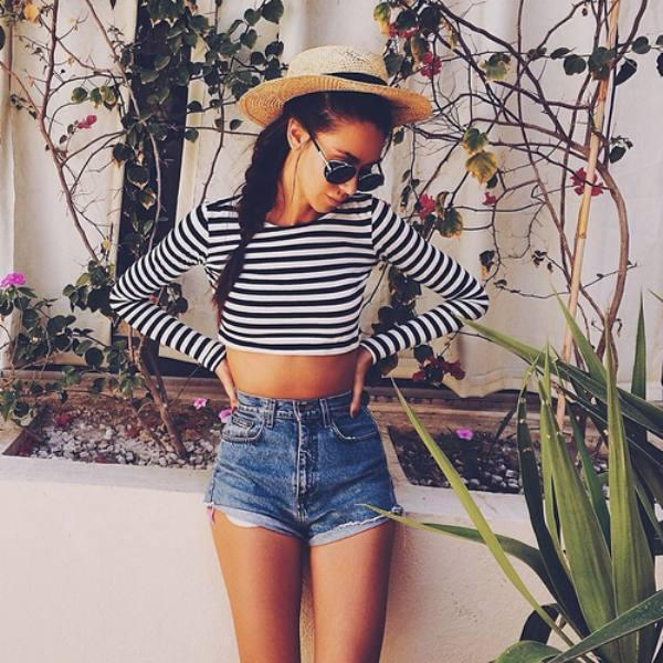 outfit, summer, hairstyle, hipster, indie, girl thing, girly stuff, summer outfit, lady, beauty, ootd, beautiful, denim, flowers, shorts, girl, braids, braid, pretty, braided hair, woman, girly, braided, sunglasses, stripes, hat, hair