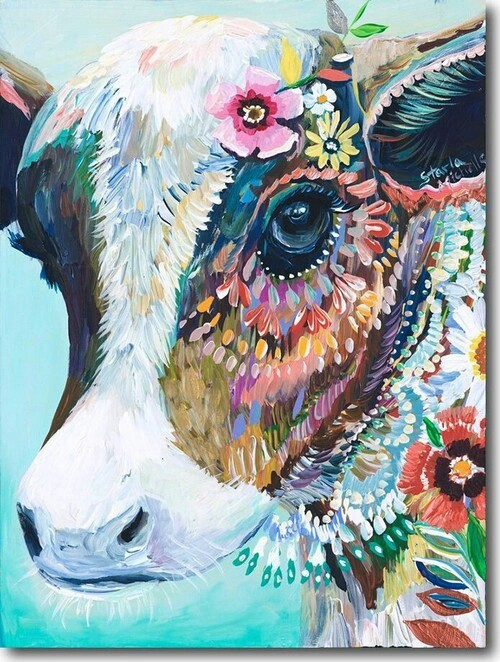colorful, cow, draw, great, love, nice, paint