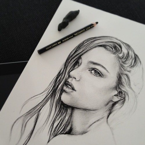 Art arts beautiful draw drawing girl hair image for Beautiful drawings tumblr