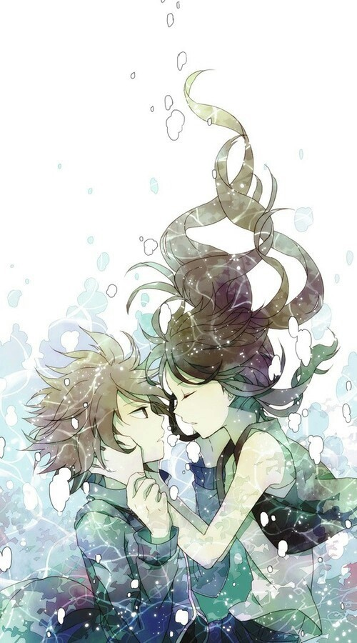 anime boy, anime girl, under water, water, anime, ️anime love