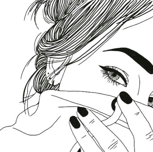 Draw Eye Girl Grunge Hair Nail Outline Outlines Pretty White