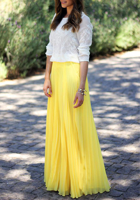 Yellow pleated maxi skirt lookbook store image 3091262 by