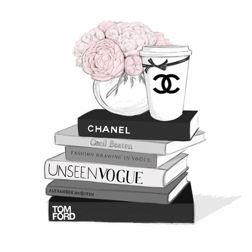 Pink and white bed sets - Art Books Chanel Fashion Flowers Illustration Pink